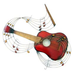 Red Guitar & Music Notes