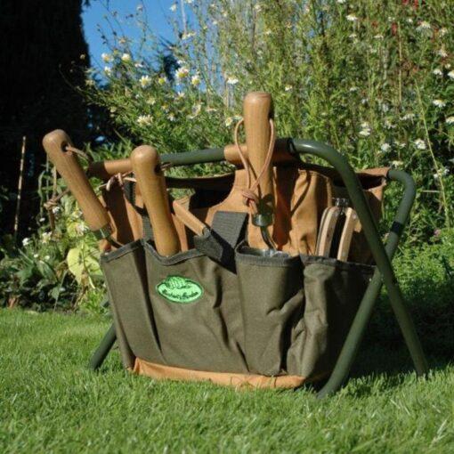 Esschert Design GT01 41 x 31 x 30cm Metal/ Textile Garden Stool - Green