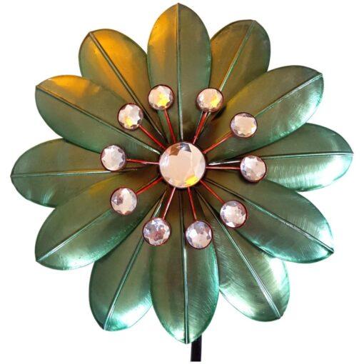 Green Flower & Diamante Beads