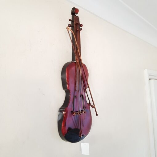 Violin Wall Art - 50cm x 19cm x 5cm, Red