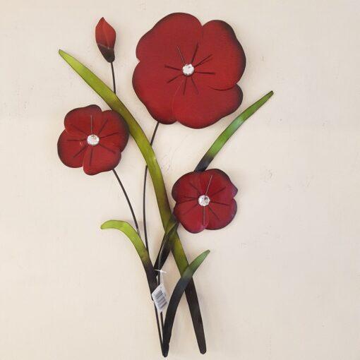 Red Poppy Flower Trio Bunch Wall Art