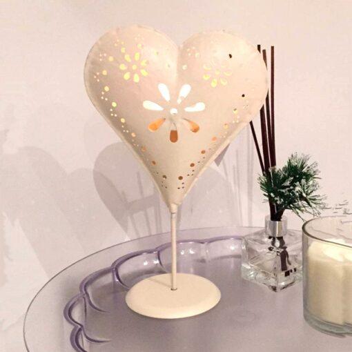 Cream Standing Heart Tealight Holder