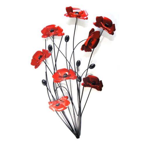Red Poppy Bunch Black Stems Wall Art