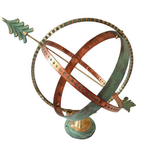 Brass And Copper Verdigris Sfaíra Armillary Globe