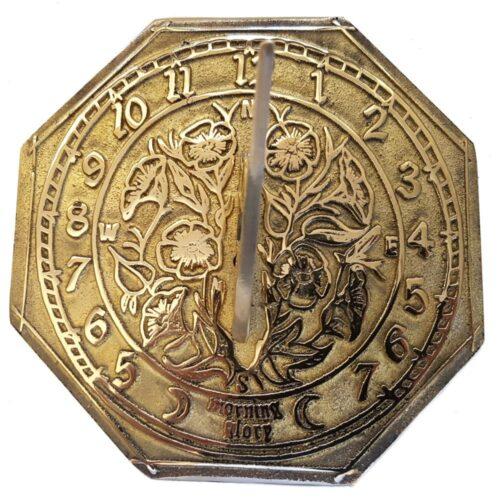 Morning Glory Octagonal Brass Sundial