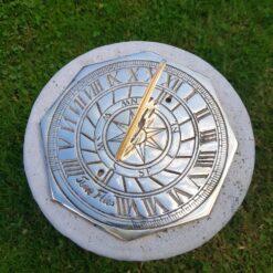 Octagonal Brass Time Flies 20cm Sundial