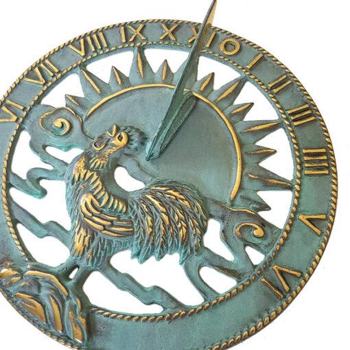 Solid Brass 'Cockerel' Verdigris Sundial 22.5cm Diameter