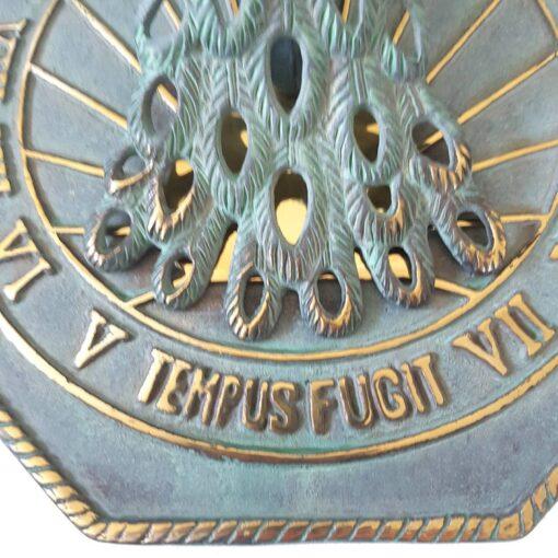 Solid Brass 'Peacock' Verdigris Sundial 23cm Diameter