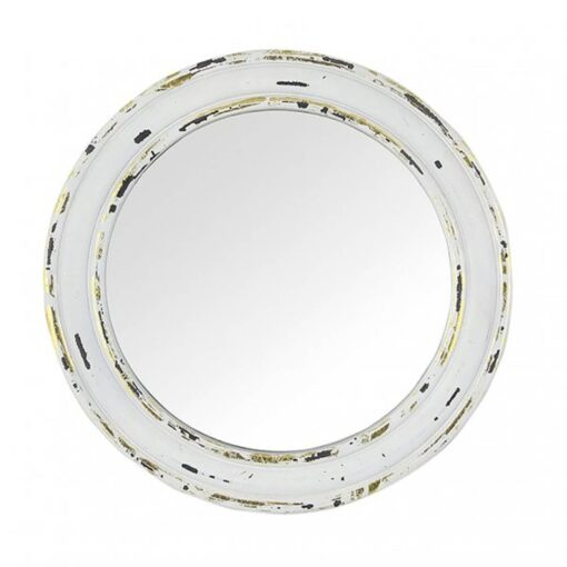 'Distressed White and Gold Wood Round' Wall Mirror