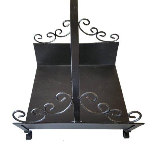 Grey Swirls Metal Log Carrier