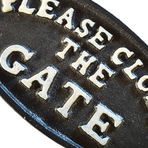 Cast Iron Please Close The Gate Garden/Yard Sign