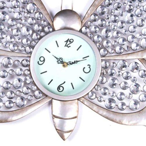 Silver Butterfly Wall Clock