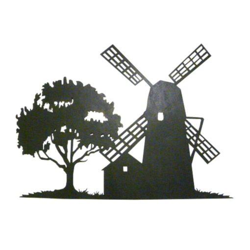 Windmill Silhouette Scene Wall Art