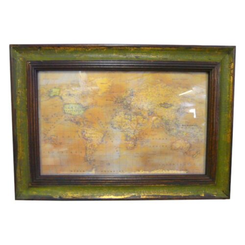 Wooden Framed Map Of The World