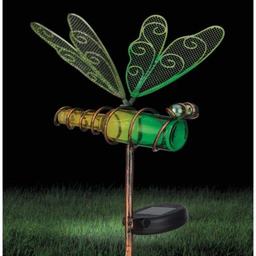 Creekwood Solar Dragonfly Garden Stake Green