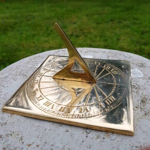 Solid Brass Square Sundial 11.5 X 11.5cm