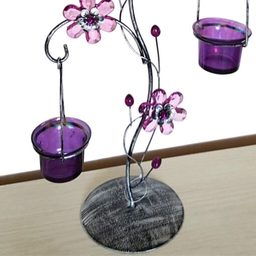Fantastic Lilac Floral Daisy Triple Tea Light Holder