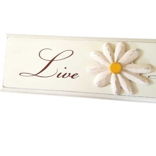 Live laugh love Wooden Daisy Floral Sign