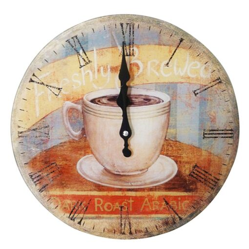 Round Shabby Chic Vintage Style Glass Coffee Cup Design Clock