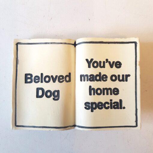 """Beloved Dog Memorial Stone - Grave Book Marker - """"Beloved Dog"""""""