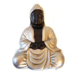 Sitting Silver and Black Buddha