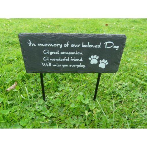 Garden Slate Sign With Spikes Beloved Dog
