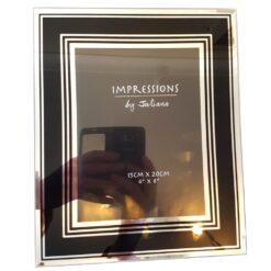 """Impressions by Juliana Photo Stylish 6"""" x 8"""" Mirror Glass Frame Black"""