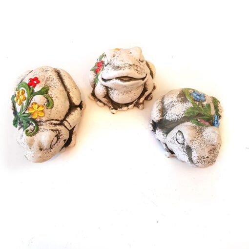 Resin Frog Set Garden Ornaments Decorated with Jewels