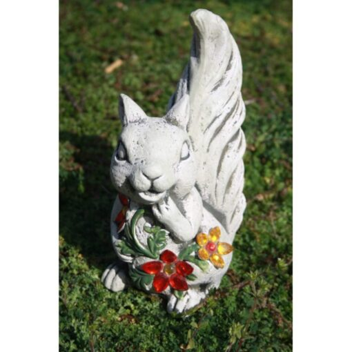 Resin Squirrel Garden Ornament Decorated with Jewels