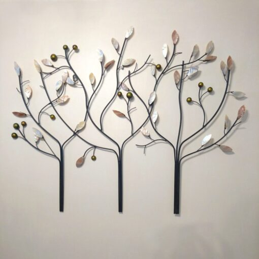 Three Oyster Branches Tree Scene Metal Sculpture
