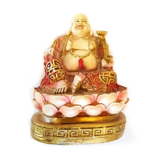 Wealthy Laughing Buddha Sitting on Coins Ornament