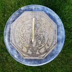 Concrete Plinth & Morning Glory Octagonal Brass Sundial Combo Black & White