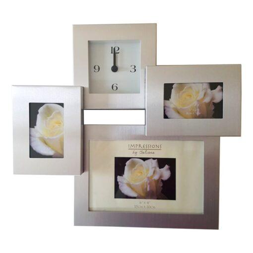 Impressions By Juliana Silver Bedside Photo Framed Clock