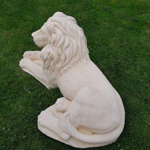 Pair of Cream Lion Sculptures