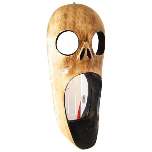 Wooden Scream Mask Hanging Mirror Fair Trade