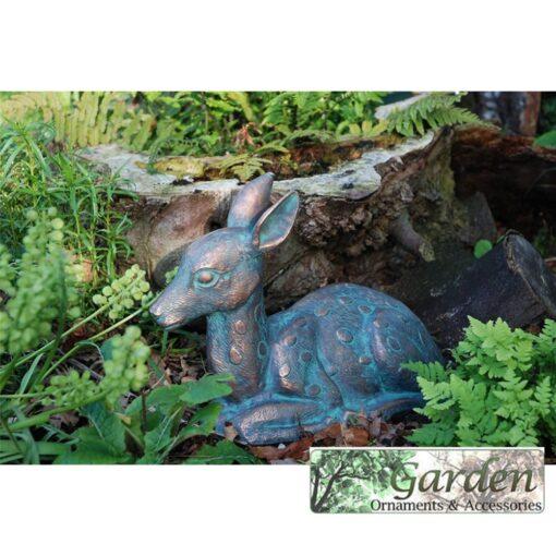 Bambi Fawn (Baby Deer) Garden Statue. Cast in Aluminium with an Aged Bronze Verdigris Finish