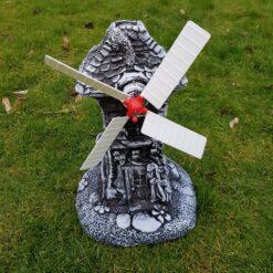 Classic House Windmill Concrete Garden Ornament - Black & White