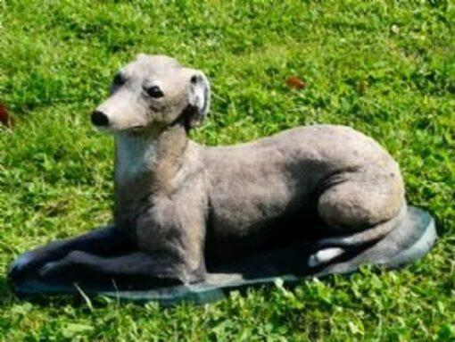 Concrete Greyhound Whippet Dog Garden Ornament (Beige)