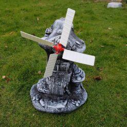 Mystical Mushroom Windmill Concrete Garden Ornament - Black & White