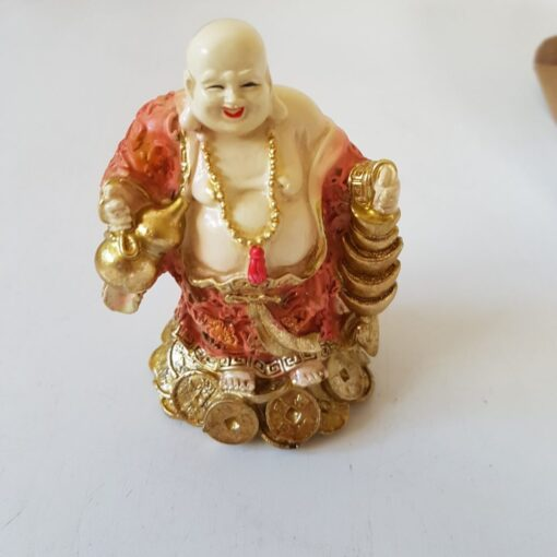 Laughing Buddha Standing on Coins Ornament