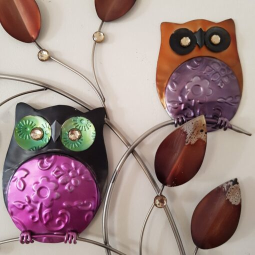 Colourful 3 Wise Owls on Branch Wall Art
