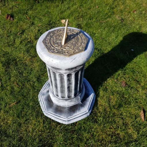 Concrete Octagonal Plinth With Morning Glory Sundial Black & White
