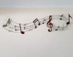 Sweeping Music Notes Metal Wall Art