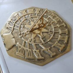 Large Octagonal Brass Sundial Plain 280mm