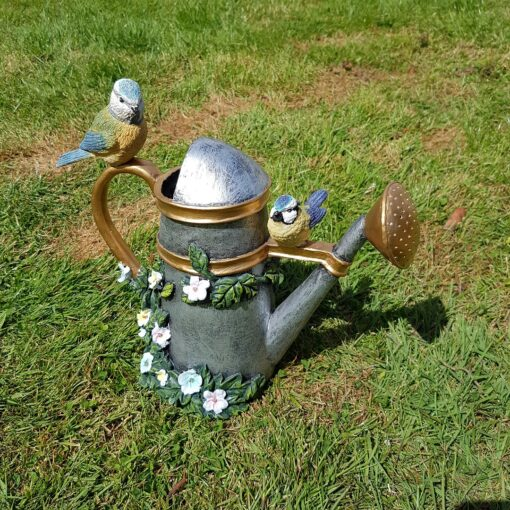 Blue Tit On Watering Can Resin Garden Ornament