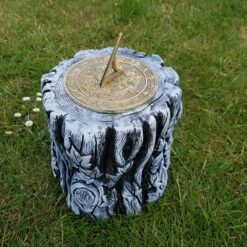 Concrete Tree Trunk Plinth Black and White With Morning Glory Sundial