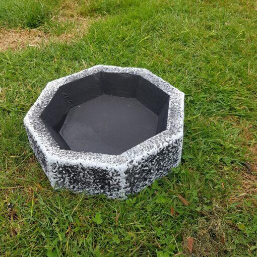 Black and White Octagonal Bird Bath/Feeder