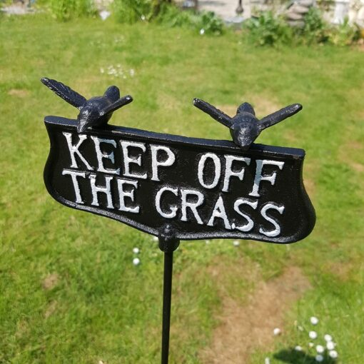 Tall Cast Iron Keep Off The Grass Sign On Spike