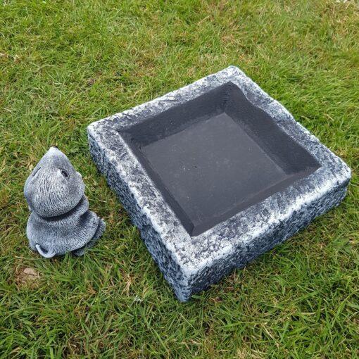 Black and White Square Bird Bath/Feeder With Free Mole