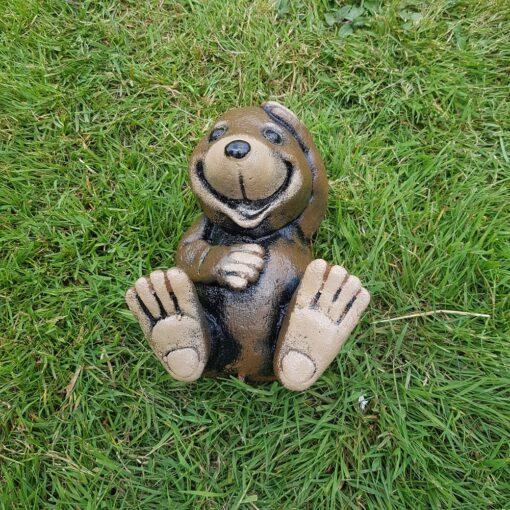 Concrete Laughing Mole Garden Ornament - Brown